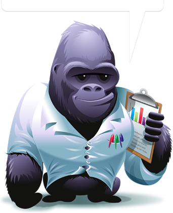 A Gorilla holding a clipboard.