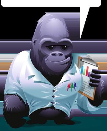A Gorilla holding a clipboard.
